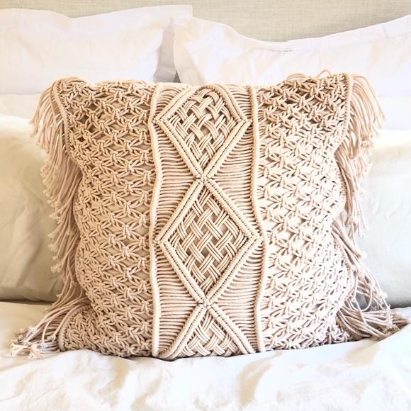 "Dusty Pink Macrame 24"" Throw Pillow"
